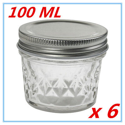 6 x SMALL QUILTED CONSERVE JAM CANDLE MAKING GLASS JARS JAR 100 ML CANDY PARTY F