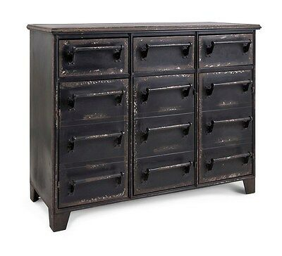 Industrial Contemporary Furniture Iron Storage Cabinet w/Drawers,40''L x 32''H.