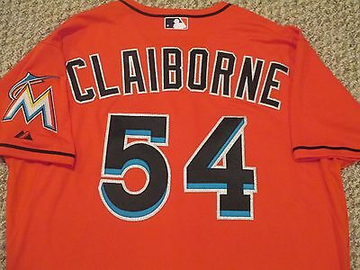 Preston Claiborne size 48 #54 2015 Miami Marlins Game Jersey Issued Orange Red