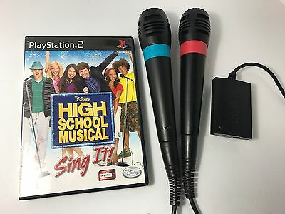 Official Wired Singstar Microphones for PS2 PS3 PS4 + Mic Adapter + Sing It Game
