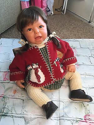"""Lee Middleton ORIGINAL REVA DOLL in 22"""" Christmas outfit 1997 signed"""