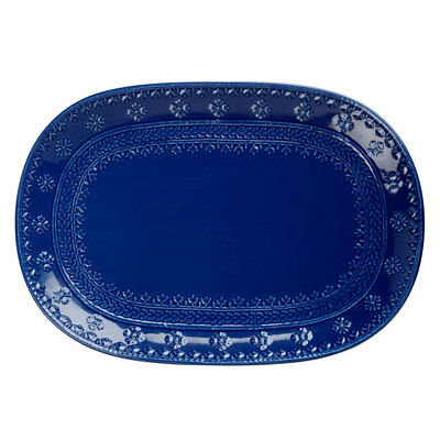 Maxwell & Williams Ponto Oblong Porcelain Serving Platter Plate 45x33cm Blue