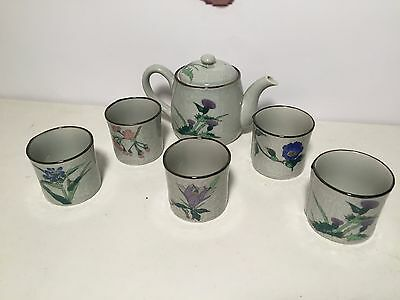 6 Piece Signed Japanese Arita Tea Set Tea Pot & 5 Tea Cups, B0260104-A4-1