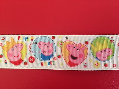 PEPPA PIG & GEORGE Grosgrain Ribbon 1 Metre X 25mm For Craft Hair Gifts Cakes
