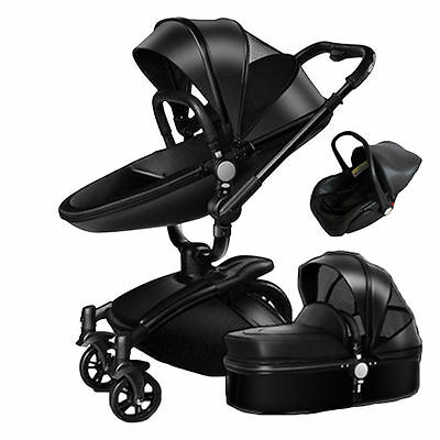 Nice Baby Stroller 2 in 1 Leather Carriage Infant Travel Foldable Pram Pushchair