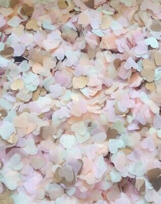 Rose gold Copper, Ivory, Light Pink Heart Confetti Wedding 2-25 handfuls / cones