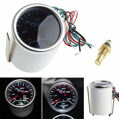 "2"" 52mm Car Universal Smoke Lens LED Pointer Oil Temp Temperature Gauge Meter"