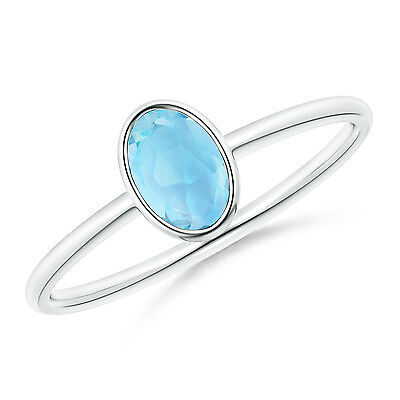 Solitaire Oval Natural Blue Topaz Ring Sterling Silver/ White Gold Size 3-13