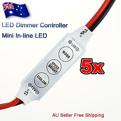 5x 12V 3528 5050 Mini LED Strip Light Dimmer Controller with On/Off Switch Hot
