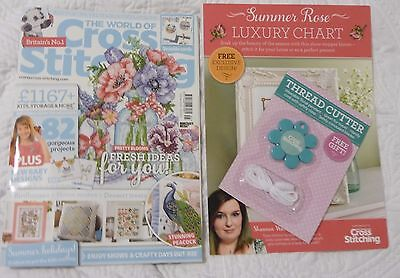 The World of Cross Stitching Magazine No 245 + 2 free gifts excellent condition