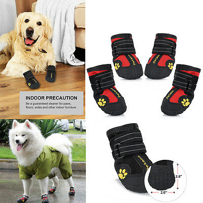 4x Waterproof Pet Shoes Anti Skid Dog Boots For Medium/Large Labrador Shoes US