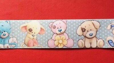 BABY ANIMALS Grosgrain Ribbon 1 Metre X 25mm For Craft Hair Gifts Cakes