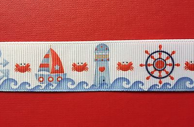 SEASIDE YACHTS Grosgrain Ribbon 1 METRE 25mm For Craft Hair Gifts Cakes