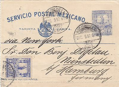 Mexico  Mexicana  1897  Postal Stationery Letter-Card Uprated Sent To Hamburg