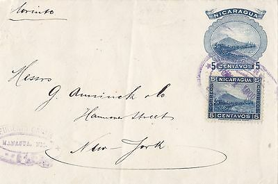 Nicaragua  1900  Uprated Postal Stationery Card From Managua To New York