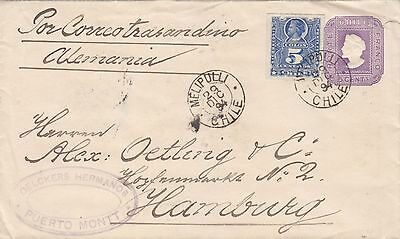 Chile  1894  Uprated Postal Stationery Envelope From Puerto Montt 'melipulli' Pm