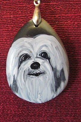 Havanese hand painted on teardrop Agate pendant/bead/necklace
