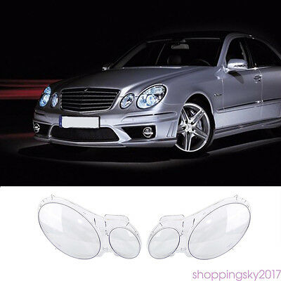 2x Headlight Lens Lampcover Cover Lampshade Bright Shell For Benz W211 2002- 08#