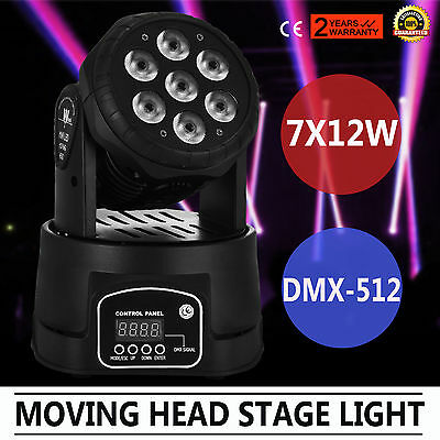 RGBW 7x12W LED Moving Head Stage Par Light DJ Bar Wash Color Laser UPDATED