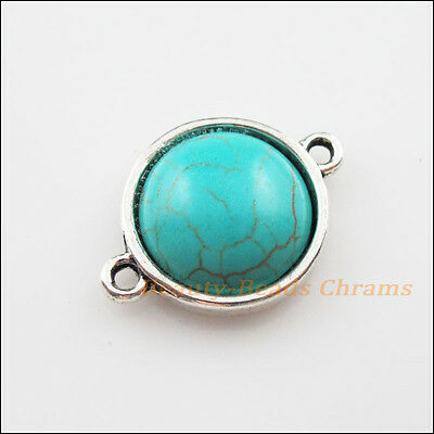 3 New Charms Tibetan Silver Round Turquoise Pendants Connectors 19x26mm
