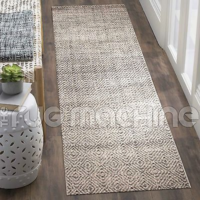 LUCAS BEIGE GREY DIAMOND GEOMETRIC POWER LOOMED MODERN RUG RUNNER 80x300cm **NEW