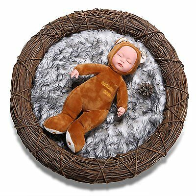 Sunmig Newborn Baby Photo Props Faux Fur Mat Rug Photography Background Basket