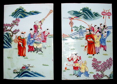 Antique Chinese New Year Porcelain Tiles Wall Hanging Music Firecrackers Boys
