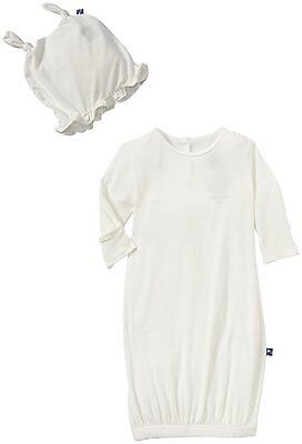Kickee Pants Layette Gown & Knot Hat Set Baby - Natural-3-6 Months