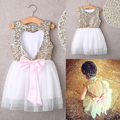 Sequins Baby Flower Girl Dress Party Gown Bridesmaid Dresses Sundress UK Stock