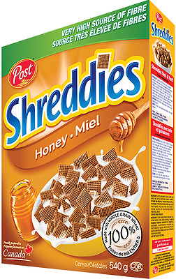 Canadian Made POST Shreddies Honey Cereal 4 Boxes 540gx4=2160Grams FRESH