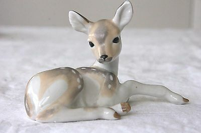 Vintage Lomonosov russian USSR deer fawn bambi figure early red backstamp