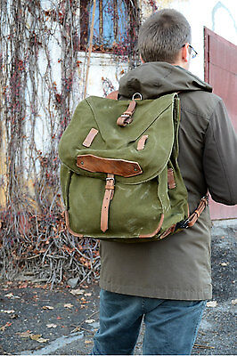 Large Military Backpack, Vintage Army Rucksack, Old Army Canvas Backpack