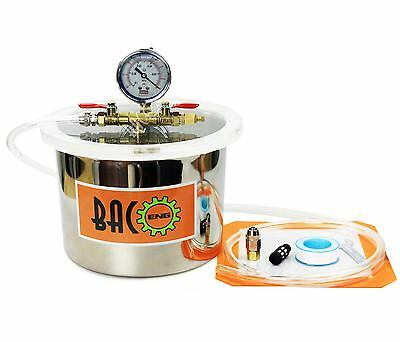 BACO 6L Litre Stainless Steel Vacuum Chamber with 1.5 m Connect Hose Silicon Kit