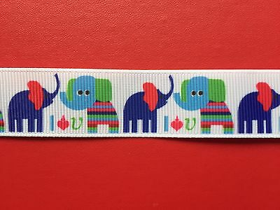 BABY ELEPHANTS Grosgrain RIBBON 1Mtr X 22mm For Craft Hair Gifts Cakes