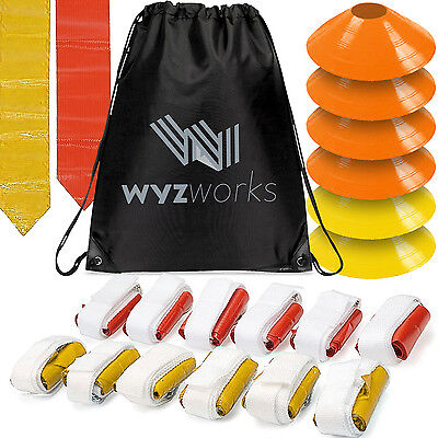 WYZworks Red & Yellow Flags 12 Player Flag Football Set w/ Cones & Travel Bag
