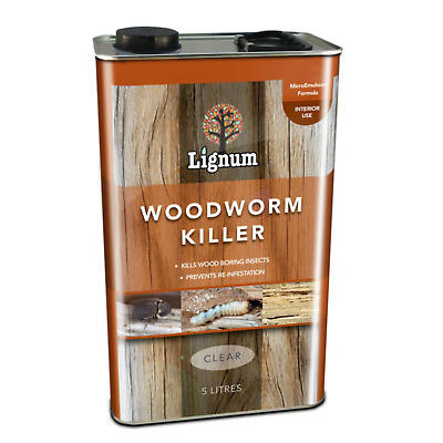 Lignum Woodworm Killer Timber Treatment for wood boring insects Prevent Cure 5L