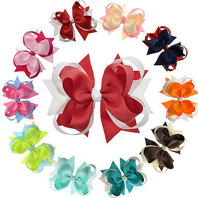 """4.5"""" Multi Color Stacked Hair Bows with Clip for Girls Toddlers Kids Pack of 10"""