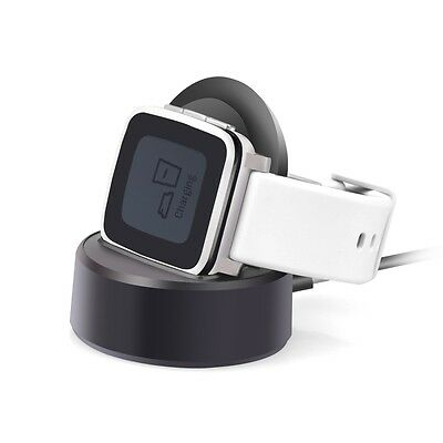 For Pebble Time Steel Charging Dock Station Charger Cradle Holder - Black