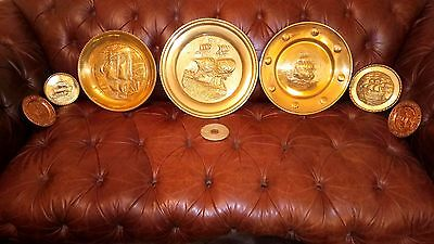 Vintage Brass Wall Hanging Plates  7pcs. /REDUCED PRICE/