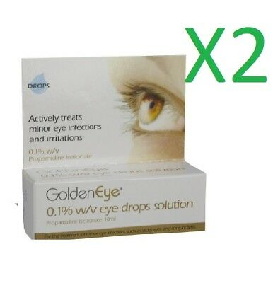2 x Golden Eye 0.1% w/v Eye Drops Solution - 10ml