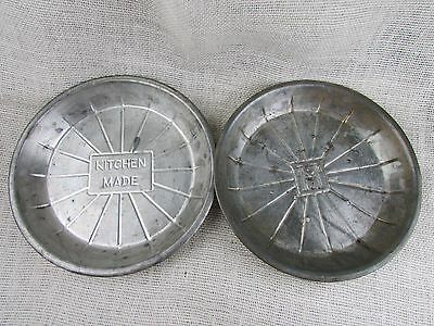 "2 Vintage metal 9"" pie plates L.J. Lloyd and Kitchen Made"