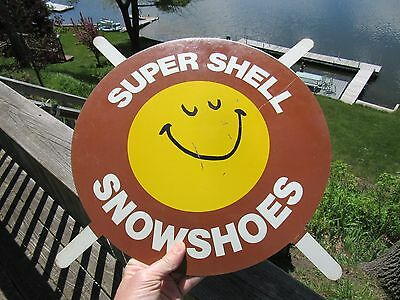 VINTAGE ORIGINAL 1960's - 70's SUPER SHELL SNOWSHOES OIL CO. TIRE INSERT SIGN
