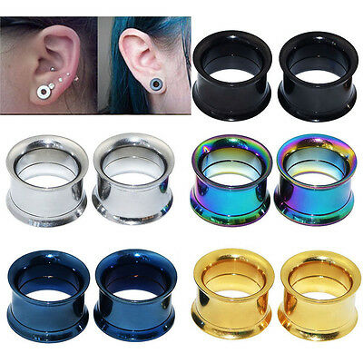 2 x New Surgical Steel Screw Ear Gauges Flesh Tunnels Plugs Expander Earring