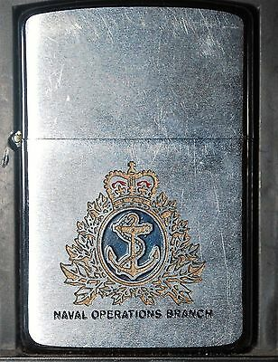 ZIPPO ONTARIO CANADA  Royal Navy NAVAL OPERATION BRANCH USED 1988 REG