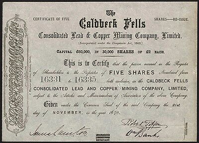 Caldbeck Fells Consolidated Lead & Copper Mining Co. Ltd., 1870