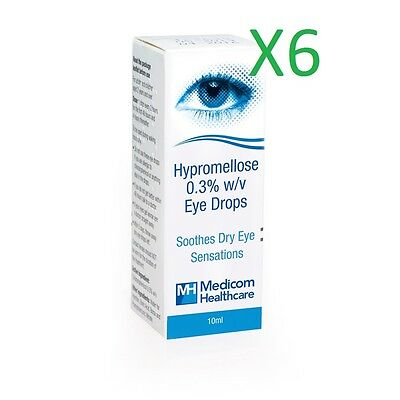 "6 x Hypromellose 0.3% eye drops ""artificial tears"" for dry eyes - 10ml"