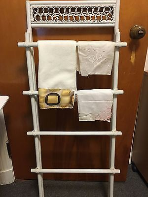 vintage white wicker & wood drying/hanging rack store display for antique linens