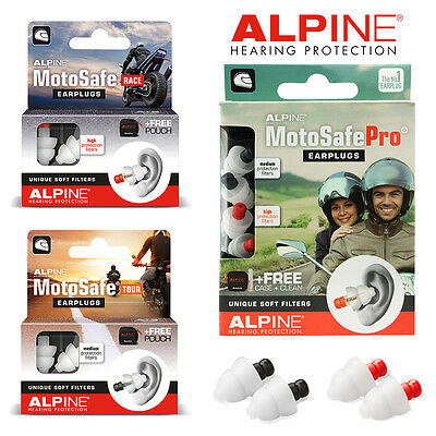 ALPINE MOTOSAFE EARPLUGS RACE, TOUR, PRO New & Improved Motosafe Biker Ear plugs