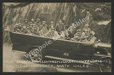Charabanc, c1921, Motor Coach, Outing, North Wales. RP Postcard. (3303)
