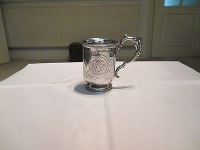 George Unite Antique Small Solid Silver Christening Cup 1874